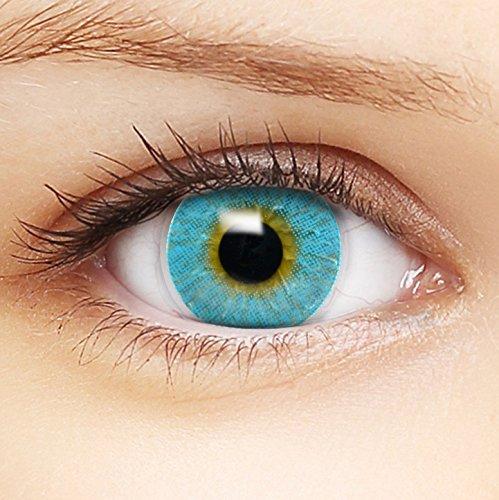 Farbige blaue Kontaktlinsen 'Intense Blue' +Behälter für DUNKLE und HELLE Augen ohne und mit Stärke