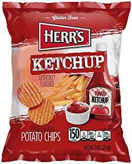 Herr's Potato Chips, Ketchup Flavored, 1 Oz. (Pack of 7)