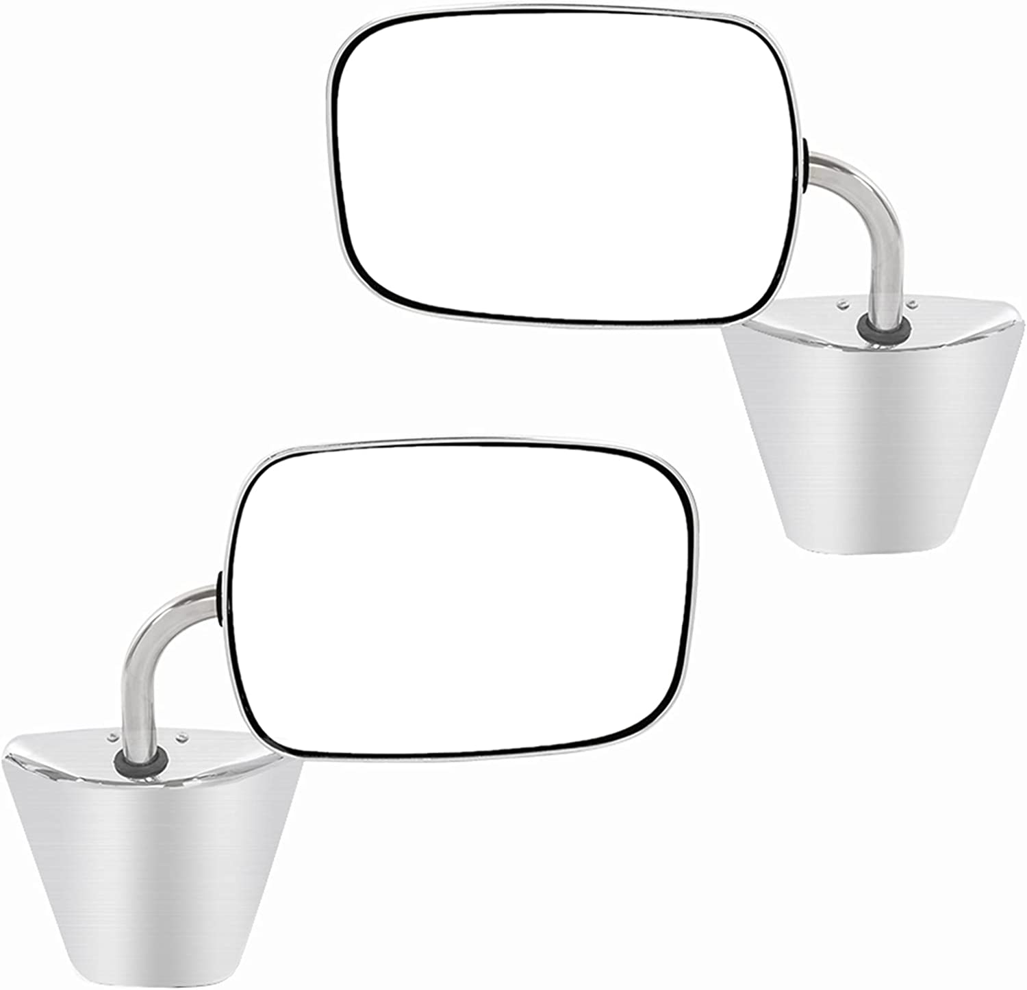 Popular shop is the lowest price challenge Stainless Max 45% OFF Steel Chrome Manual Side View Mirrors Pair Set RH LH