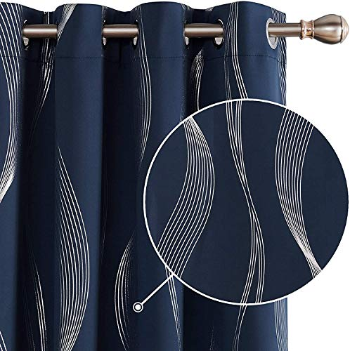 Deconovo Wave Line Foil Printed Blackout Curtains Thermal Insulated Super Soft Energy Saving Eyelet Curtains for Living Room 55 x 69 Inch Navy Blue 1 Pair