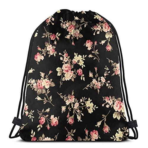 Bolsas de cordón con flores y impresión negra unisex con cordón mochila de deporte bolsa de cuerda bolsa grande bolsa de asas bolsa de asas bolsa de gimnasio mochila a granel