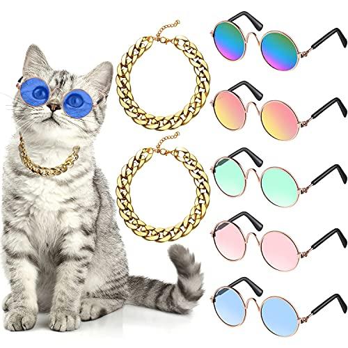 Set di 7 Costume per Cani Include Catena Regolabile in Oro per Animali e Gatto Divertente Simpatico Occhiali Sole per Cani Gatti di Taglia Piccola Medio e Animali Retrò (Colori Vivaci)