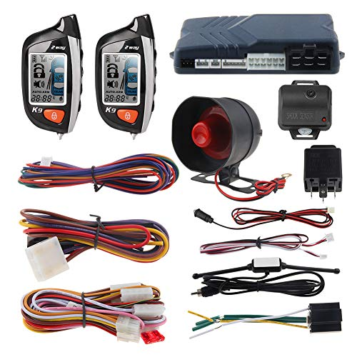EASYGUARD EC200-K9 2 Way Car Alarm System with LCD Pager Display Remote Engine Start Turbo Timer Mode Shock Alarm DC12V Long Remote Range