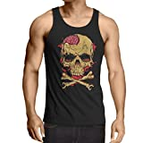 lepni.me Camisetas de Tirantes para Hombre La Calavera (Medium Negro Multicolor)
