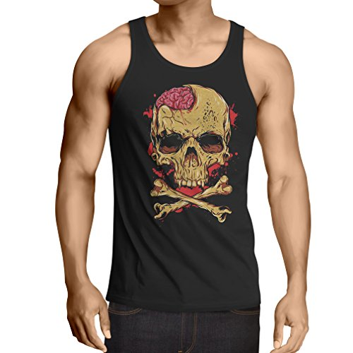 lepni.me Camisetas de Tirantes para Hombre La Calavera (Large Negro Multicolor)