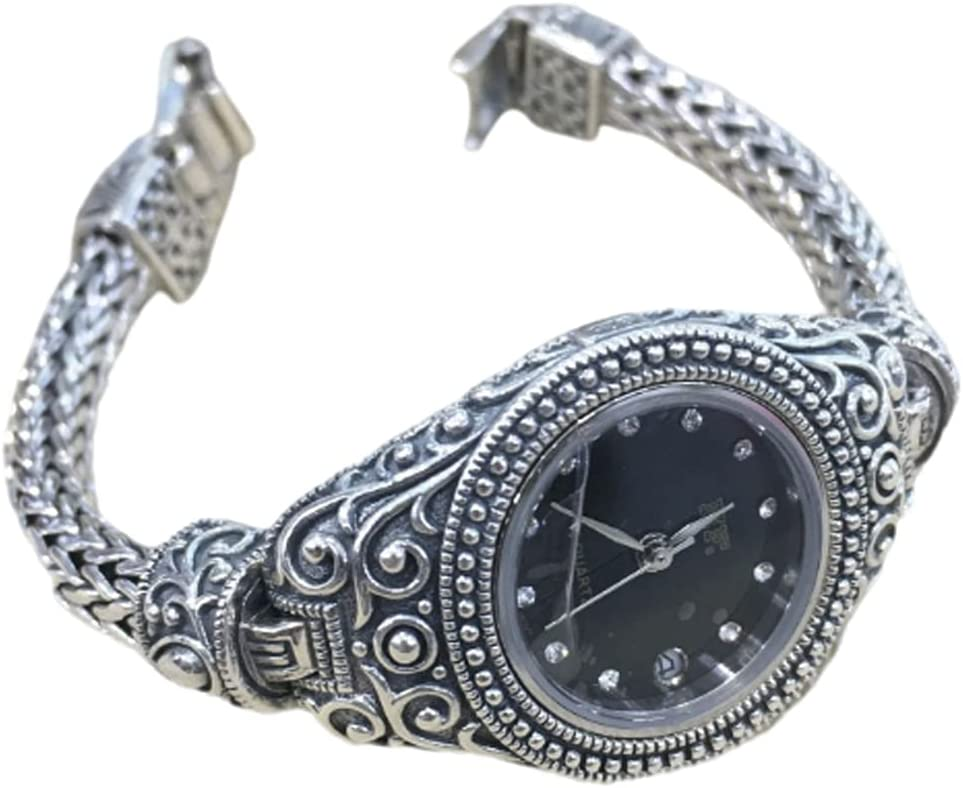 CHXISHOP Reloj de pulsera para mujer de plata de ley 925 de la industria pesada reloj gótico vintage exquisito reloj de cuarzo reloj brazalete