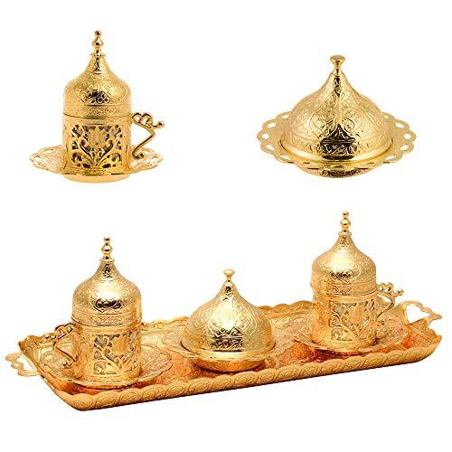 Alisveristime Ottomane Türkisch Griechisch Arabisch Espresso Kaffeetassen mit Untertasse und Deckel (Set von 2) (Lale) (Gold)