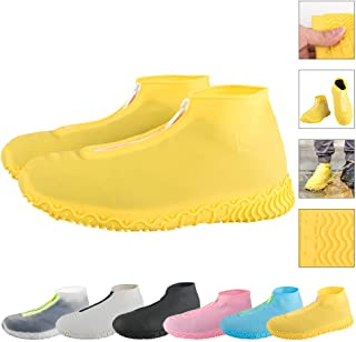 ATOFUL Reusable Silicone Waterproof Shoe Covers, Silicone Shoe Covers with Zipper No-Slip Silicone Rubber Shoe Protectors for Kids,Men and Women