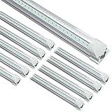 STASUN 8FT LED Shop Light Fixture, 10 Pack 72W 10000lm Integrated T8 LED Tube Light, 5000K Daylight, V Shape, Clear Cover, Linkable Shop Lights with plug for Garage Warehouse Workshop, ETL DLC listed