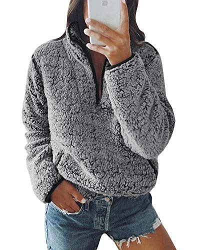 Yidarton Pull Femme Hiver Polaire Sweatshirt Sweat Laine Zip Manches Longues col Montant Pulls Haut Tops Poches