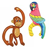 Photo de Inflatable Monkey and Inflatable Parrot Decor Bundle Blow up Party Accessories for Safari Jungle Pirate Fancy Dress Party Decoration by Amscan