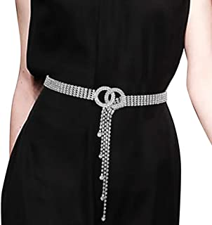 Women's Crystal Rhinestone Waistband Belt Sparkle Chain with Double O-Ring Belt