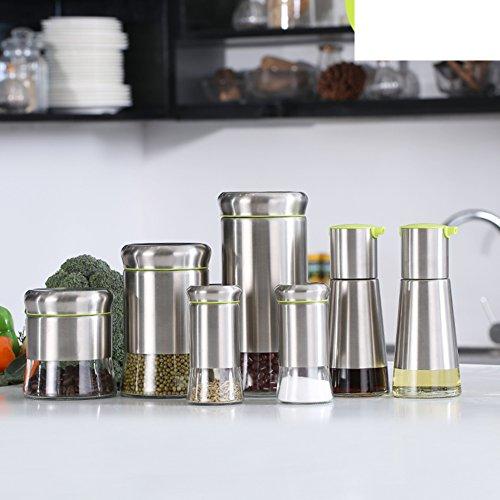 Glazen olie en azijn flessen keuken kruiden flessen roestvrij staal opslagtank creatieve keuken servies pak B