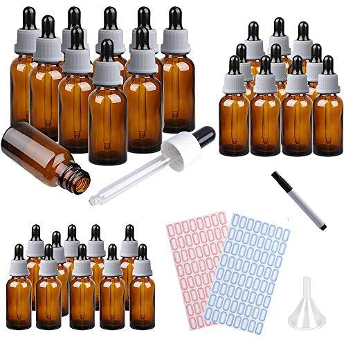 MEckily 30 Pipettenflaschen mit Glaspipette 15ml,20ML,30ML Braunglasflaschen Apothekerflaschen mit Tropfpipette für ätherische Öle, Parfüm Öle, Flüssige Farbstoffe Aromatherapie-Mischungen