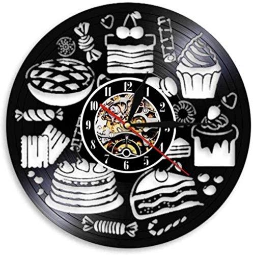 ZYBBYW Reloj de Pared Pan Dulce Cupcake Reloj de Pared Reloj de Arte Superficie Paquete Tienda Firma pastelería Disco de Vinilo Reloj de Pared Caramelo decoración de la Cocina