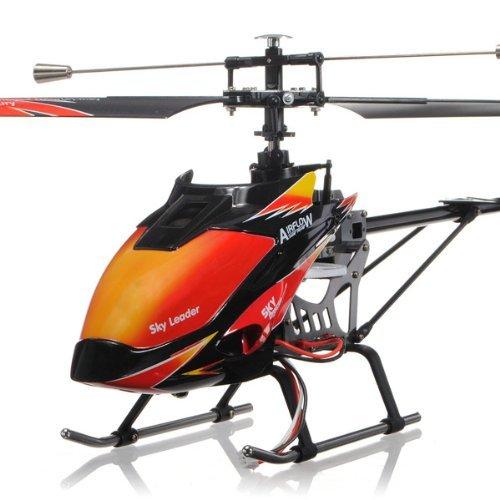 PinShang RC Wltoys – Helicóptero de juguete, V913, 4 canales, una sola hoja, 2,4 GHz, LCD, control remoto, color rojo y naranja, listo para volar