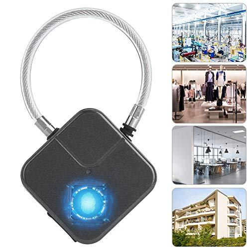 Slim hangslot, anti-diefstal biometrische vingerafdruk keyless waterdicht USB opladen veiligheidsslotvergrendeling voor de locker in de lockerkast (zwart)