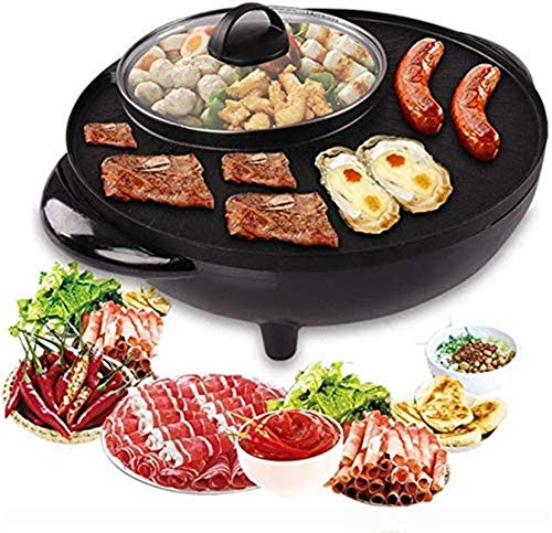 Parrilla eléctrica portátil, Barbacoa Hot Pot Bote Doble, Olla de Cocina integrada...