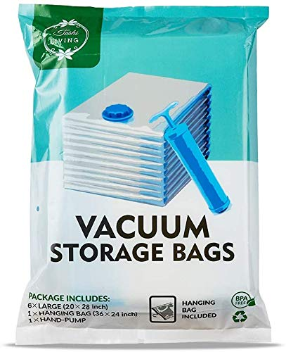 TashiLiving Vacuum Compression Storage Bags, Space Travel Bags for Clothes, Bedding, Pillows, Comforters 7 Pack (Medium - 6 Pack 20' x 28' + 1 Hanging Bag) with Hand-Pump for Travel