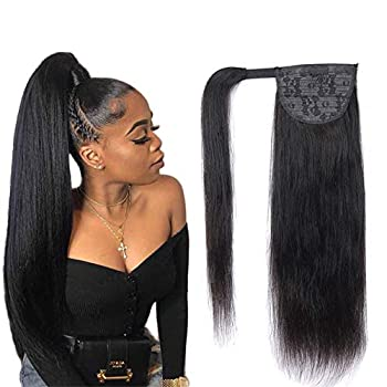 Magic Paste Ponytail Human Hair Extension Afro Straight Ponytail for Black Women Human Hair Natural Black Color Brazilian Virgin Human Hair Ponytail Remy Hair Extensions 16 Inche 105g