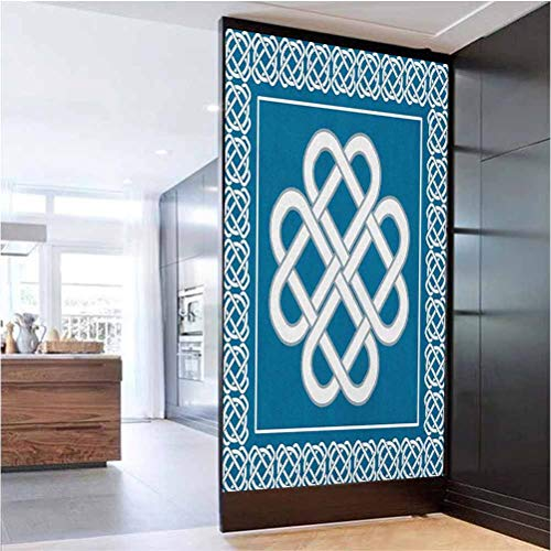 W 17.7' x L 78.7' Window Film Privacy Static Cling Window Glass Sticker for Home,Celtic Love Knot Good Fortune Symbol Framework Border Historical Amulet Design Dark Aqua White