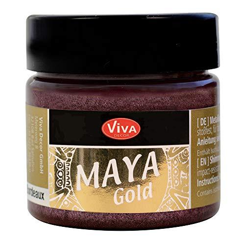 Viva Decor® Maya Gold (Bordeaux, 45 ml) glänzende Metallic Farben zum Basteln - Acrylfarben Gold Metallic für Holz, Pappe, Beton, Papier, Leinwand uvm. - Made in Germany
