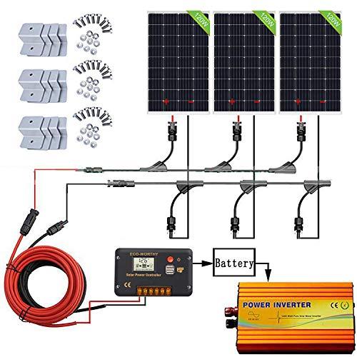 ECOWORTHY 360W de la rejilla del panel solar Kit: 1000W 220V inversor sinusoidal pura + 3 PCS 120W policristalino del panel solar + 20A