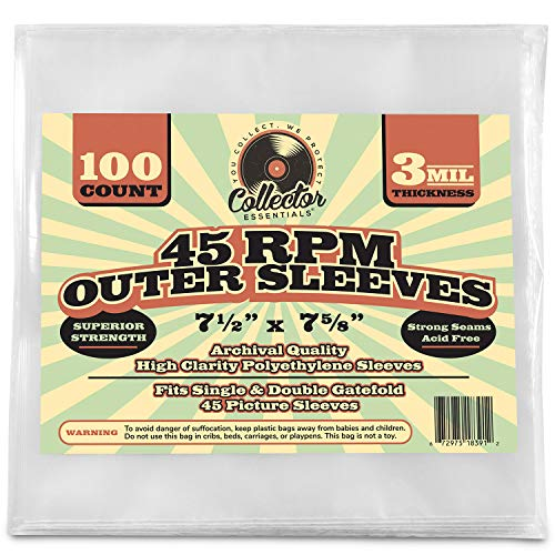 """100 Clear Plastic 45 RPM 7"""" inch Outer Sleeves for Vinyl Records Covers - 3 Mil Thick - 7 1/2 X 7 5/8"""" - Preserve & Protect Single & Double Gatefold Picture Sleeves Cover Artwork."""