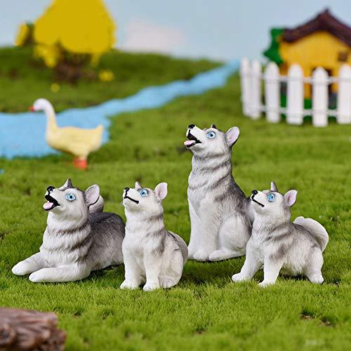 Steellwingsf Decoración De Plantas Hortícolas De Micropaisaje, Simulación De Resina Husky Dog...