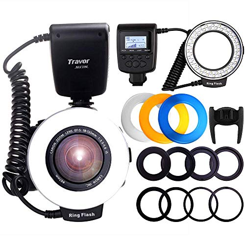Travor 48 Macro LED Ring Flash Light Bundle with LCD Display Power Control 4 Flash Diffusers 8 Adapter Rings Macro Photography Light for Canon Nikon Sony and Other DSLR Cameras