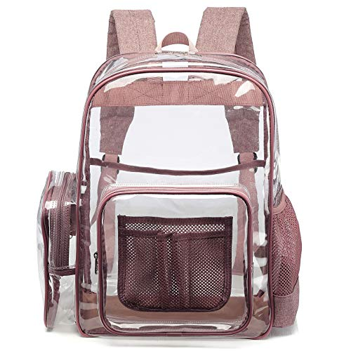 Clear Backpack, F-color Heavy Duty Clear Backpack with Laptop Compartment, Large PVC Transparent...