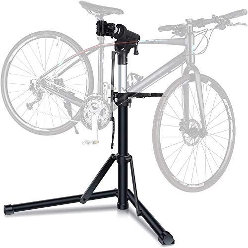 CAISYE Fahrradmontageständer, Aluminium Montageständer Für Fahrräder, Reparaturständer Mit Magnetischer Werkzeugschale, Reparaturset, Höhenverstellbar, Fahrradmontagestander MTB Femor Bike 70 Kg.