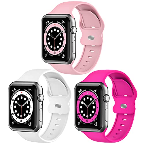 Upgrade Bands Compatible with Apple Watch Band 42mm 44mm for Women Men,3 Pack Soft Silicone Replacement Sport Watch Strap for iWatch SE Series 6 5 4 3 2 1-Smartwatch Band