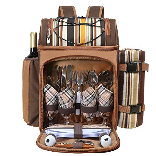Hap Tim Picnic Backpack Cooler for 4 Person with Insulated Leakproof Cooler Bag, Wine Holder, Fleece Blanket, Cutlery Set,Perfect for Beach, Day Travel, Hiking, Camping, BBQs, Family and Lovers Gifts