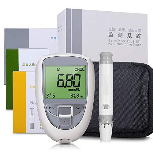 Qazxc Blutzuckermessgerät Set, 3 in 1 Multi-Funktions-Harnsäure-Diabetes Cholesterin-Tester Messgerät System und Teststreifen (Color : Monitor 3in1 Strips)