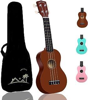 POMAIKAI Beginner Ukulele Soprano for Kids Hawaii Guitar 21 Inch Beginner Uke Starter Kid Guitar Rainbow Uke Wood with Gig Bag (Bright-Brown)