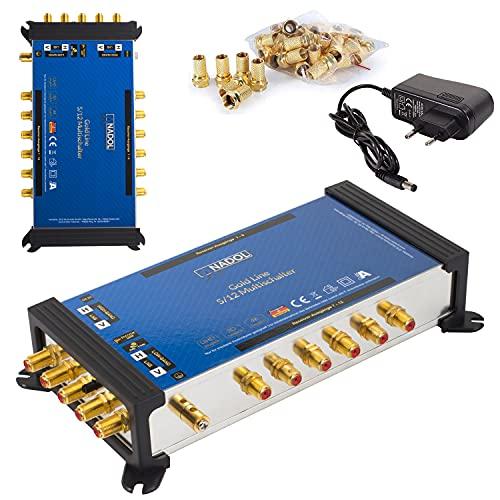 [ Test 2X SEHR GUT *] Anadol Gold Line Multischalter 5/12 für Satellit Multiswitch für 1 Satelliten 12 Ausgänge/Receiver - Sat-Verteiler externes Netzteil - Multischalter 17 vergoldeten F-Stecker