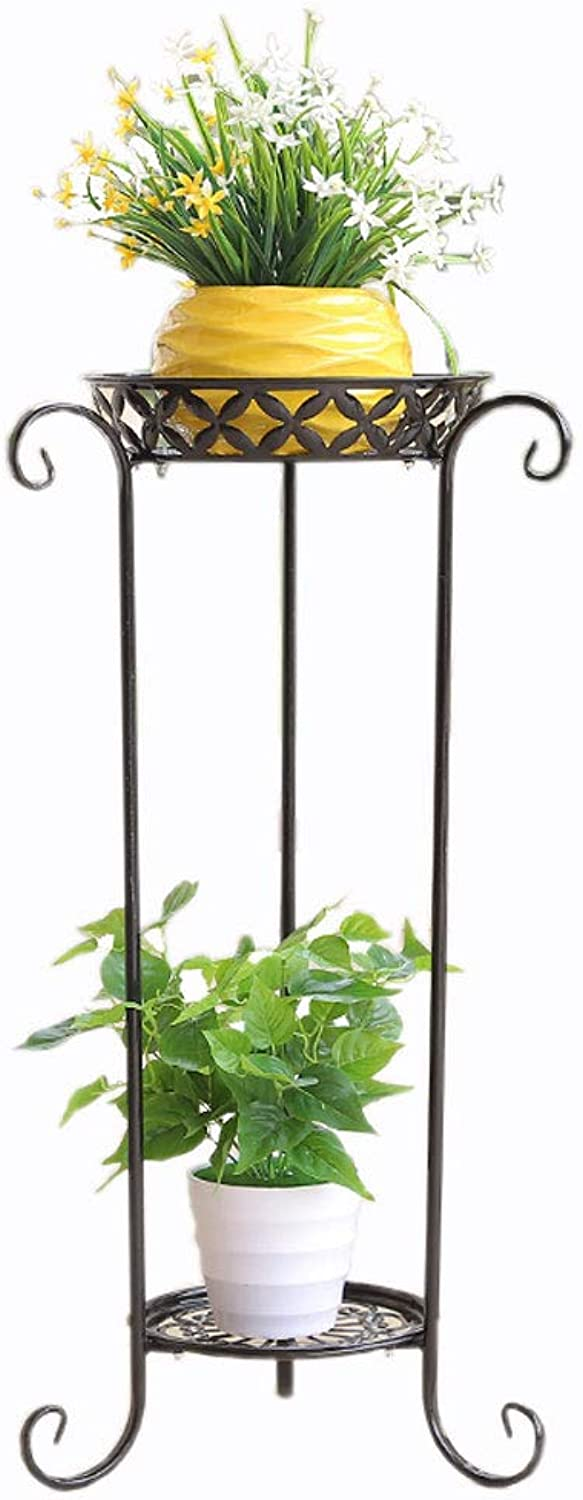 WYNZYHJ Floor Stand, European Wrought Iron Multi-Layer Pot Rack Balcony Living Room Floor Plant Stand (Size   B)