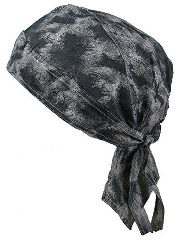 Bandana pañuelo para la cabeza pre atada lavado con acido gris