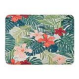 Tapis de Bain paillassons Tapis de Porte extérieur/intérieur Motif Rouge été coloré Plantes Tropicales hawaïennes et Fleurs d'hibiscus Vert Floral Salle de Bain Decor Tapis Tapis de Bain