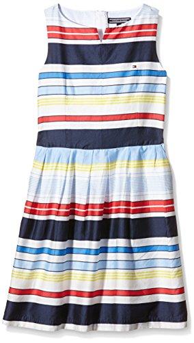 Tommy Hilfiger Mädchen Kleid Isle Stripe Dress Slvls, Mehrfarbig - Multicoloured (Classic White), 12