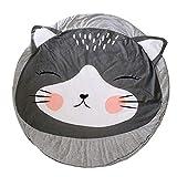 Levoberg Krabbeldecke Rund gepolstert, Krabbeldecke für baby aus Baumwolle, 90 x 90 cm groß, Katze Motiv, ideal auch als Babydecke, Spieldecke und Laufgittereinlage