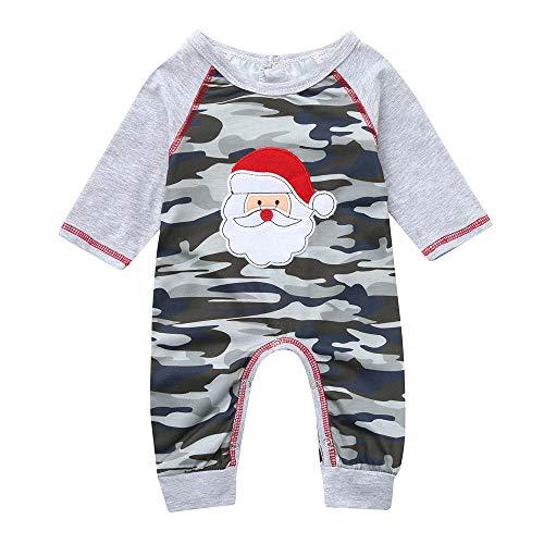 BUKINIE Combinaisons de Noël de vêtements de bébé Infantile Combinaison de Vacances de Festival de Noël de Barboteuse de Santa Camouflage pour Le Bambin/Enfants(Camouflage,3-6 Mois)
