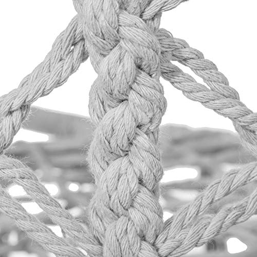 SPRINGOS Hängeschaukel mit Fransen, Hängesessel, geflochten, Baumwolle, Gartenschaukel, Schaukelstuhl zum Aufhängen, mit Seilen und Ringen, für Außen und Innen, Hängekorb (Grau) - 8