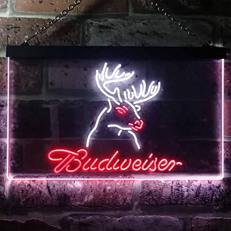 Zusme Coors Light Deer Den Man Cave Novelty LED Neon Sign Weiß + rot W40cm x H30cm