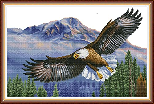 Maydear Cross Stitch Kits Stamped Full Range of Embroidery Starter Kits for Beginners DIY 11CT 3 Strands - The Flying Eagle 30.4×22.1(inch)