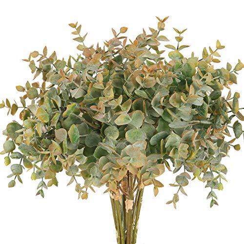 NAHUAA 4Pcs Plantas de follaje Artificial Hojas de Eucalipto de Imitación Plástico Ramas Verdes Spry en Naranja para Verano Otoño Hogar Cocina Jardín Patio Alféizar Decoración Interior Aire Libre