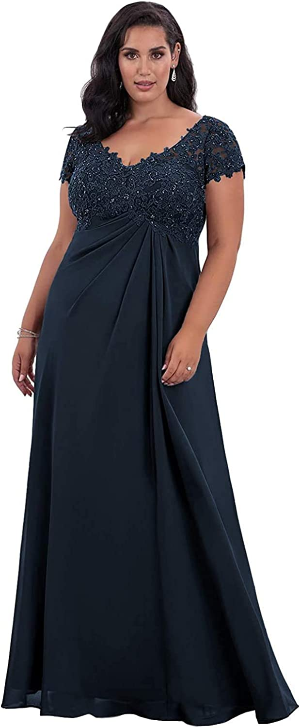 Mother of The Bride Dresses with Sleeves Lace Chiffon V Neck Long Formal Evening Gown