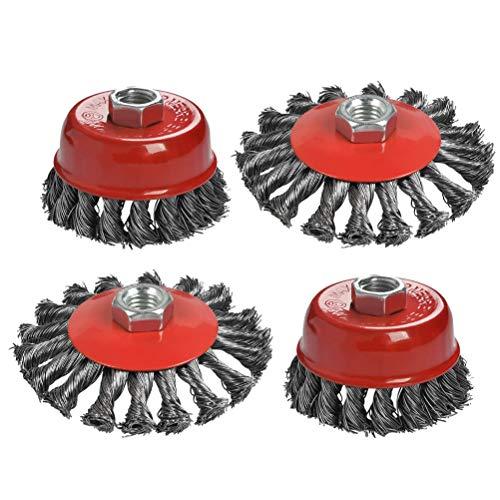 ATPWON Kegelbürste Topfbürste Drahtbürste Zopfbürste Stahl Bürste Flex Topf(4 Stück)