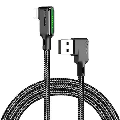 Mcdodo Cable de carga rápida LED en ángulo recto 3A,doble codo de 90 grados para juegos, cable de carga USB reversible trenzado de nailon compatible con phone 11 Pro X XR Max 8 7 Plus 1.8M negro
